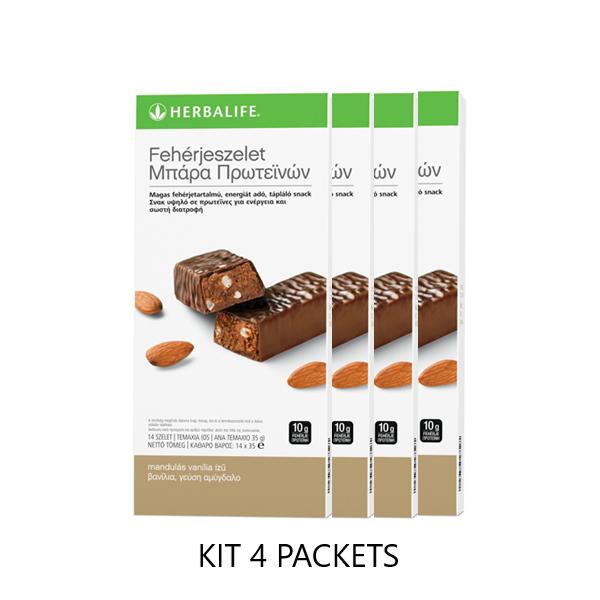 Protein Bars Vanilla Almond - 4 pack΄s kit - 14 bars per box